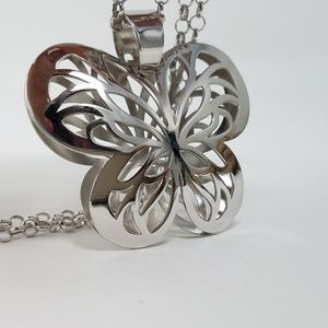925 silver butterfly statement necklace